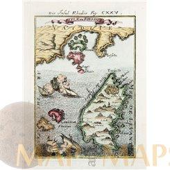 Die Insel Rhodis / Isle de Rhodes antique old map by Mallet 1683
