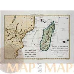 Africa antique map L'Isle de Madagascar Bonne 1770