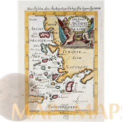 Eastern Aegean Sea islands antique old map by Mallet 1683
