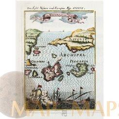 Is. De Nisaro et de Piscopia Greece islands Antique Maps