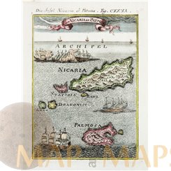 I. de Nicaria et Patmos Greece Islands Antique Maps by Mallet