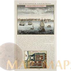Surate et de Batavia antique engraving trade routes. Chatelain 1714.