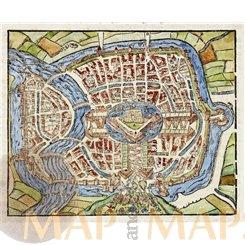 Haarlem Holland, alter Holzschnitt der Statt Haerlem Sebastian Münster 1614