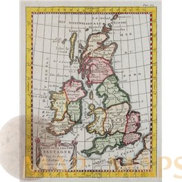 Great Britain Antique Old map Ireland by Buffier 1744