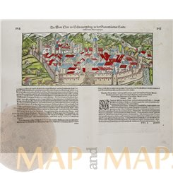 Die Statt Chur Antique Woodcut Switzerland Seb. Munster 1614