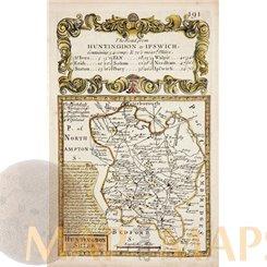 HUNTINGDONSHIRE ANTIQUE ROAD MAP COLORED BY BOWEN/OWEN 1761