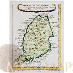 ANTIQUE MAP GRENADA ISLAND OLD ENGRAVING CARTE DE L'ISLE DE LA GRANADE BELLIN 1760