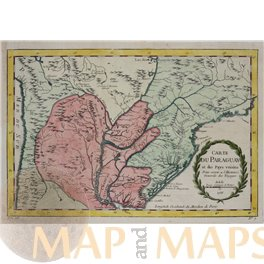 Paraguay South America old antique map Bellin 1756