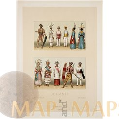 Oceanie people in traditional costume antique print Didot 1860