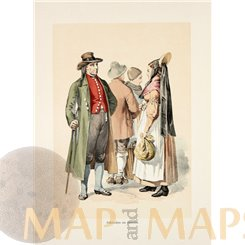 FOLK COSTUMES FROM SWABIA, GERMANY, ANTIQUE PRINT 1890