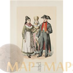 FOLK COSTUMES FROM LOWER FRANCONIA IN BAVARIA, GERMANY, ANTIQUE PRINT 1890