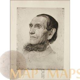 OTTO FISHER, HEAD STUDY GERMAN SCHOOL FINE ANTIQUE ENGRAVING 1901