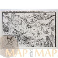 France Plan De La Ville De Thionville Antique map Bourbon 1768