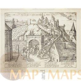 Don Juan conquering the citadel of Namur engraving 1577