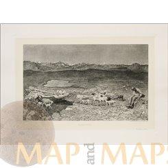 Alpine Pastures Antique print Alpenweide Paulussen 1897