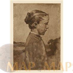 GIRL IN SUNLIGHT, FINE ART PRINT 1913 L. SCHMIDT REUTTE