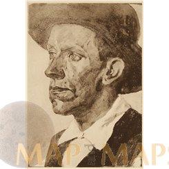 Study head. Art Print Ludwig Schmidt Reutte 1904.