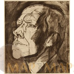 Study Head Man. Art Print Ludwig Schmidt Reutte 1904.