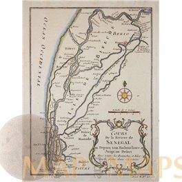 Cours De La Riviere De Senegal Africa Map by Bellin 1764