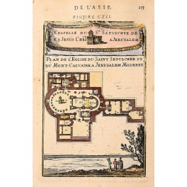 Church of the Holy Sepulchre Jerusalem antique map by Mallet 1683
