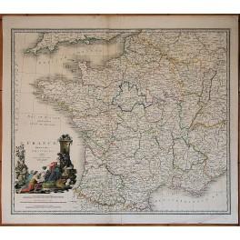 1843 original antiken Karte Frankreich in Abteilungen von J. Wyld
