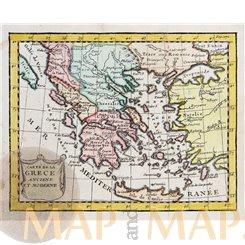 Greece CARTE DE LA GRECE antique map by Buffier 1744