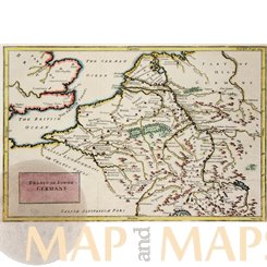 Belgium Holland Germany antique map by Delisle/Cellarius 1748