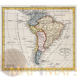 South America Peru Chili Old antique map hand colored by Dufour 1828