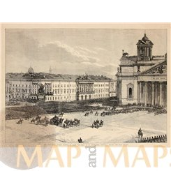 Russia St. Petersburg St. Isaac's Cathedral Old print 1872.