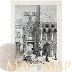 Italy, Doge's Palace entrance Antique print Venice 1878