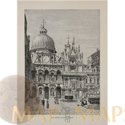 Italy, The Ducal Palace Antique print Venice 1878