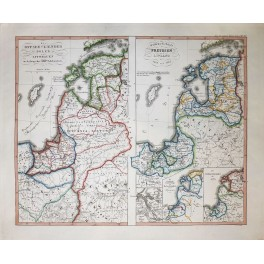 Baltic Countries Poland Lithuania Pruess and Livonia antique map Spruner 1846