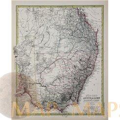 Australia South East antique map by Petermann 1883