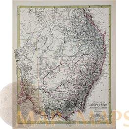 Australia South East antique map by Peterman 1883