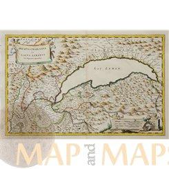 Lake Geneve, Switzerland antique map Lacus Lemanus Blaeu 1682