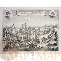Delineatio Pugnae navalis inter Venetos et Turcas Merian print 1669
