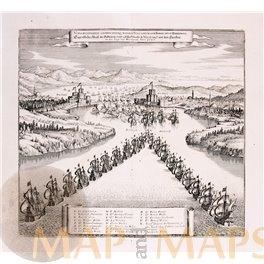 Dardanelles, Venetian Ottoman fleet Istanbul old print Merian 1669