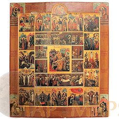 Russian Calender Icon, Christ raising Adam, Eve and the Just People of the Old Testament