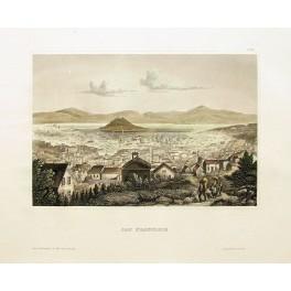 San Francisco old view. Fine antique print 1840