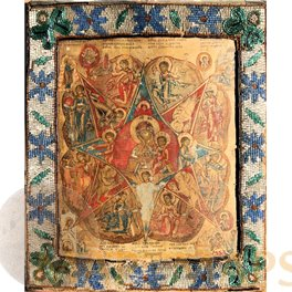 Mother of God of the Burning Bush with applied beaded border, 19th century