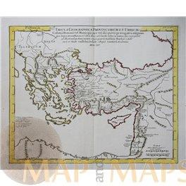 Classical Roman antique map, Turkey Greece Syria Delisle 1715