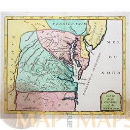 Antique map of Virginia and Maryland, De La Porte 1786