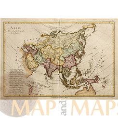 Asia Old Historical Map Asie by Rigobert Bonne 1787