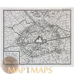 Plan de La Ville d'Ypres. Old engraving Ypres by Bourbon 1766