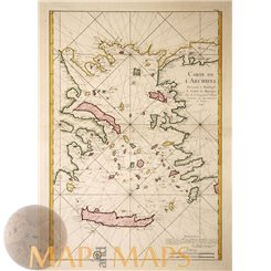 Aegaeon Sea antique map Ottoman Empire Maurepas Bellin 1745