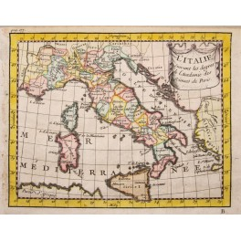 Italy L´Italie Italia antique map by Buffier 1744