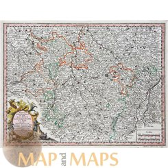 Mappa Geographica Lorraine France map by Seutter 1744