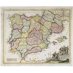 Iberian Peninsula old map Nuova Carta della Spagna Albrizzi 1740
