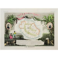 Reunion or the Ile Bourbon, Indian Ocean map Levasseur 1842