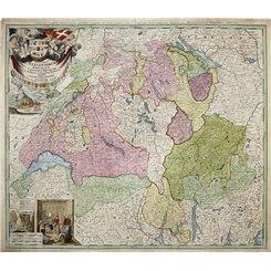 Switzerland old map Potentissimae Helvetiorum Homann 1732